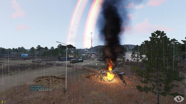Such a beautiful sight, a crashed enemy Neophron and a double rainbow!