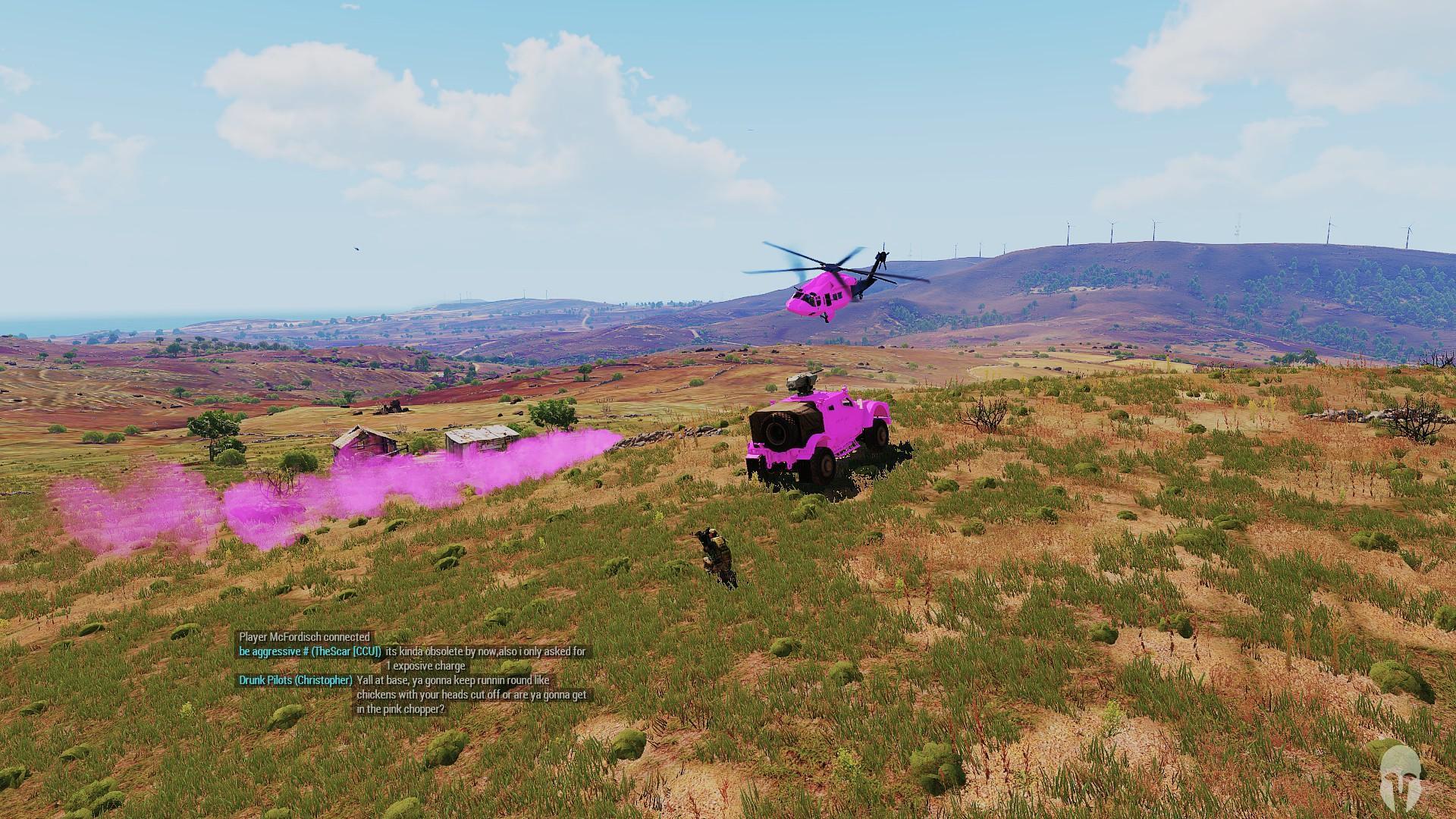 Pink Ghosthawk landing at Pink smoke alongside a Pink Hunter