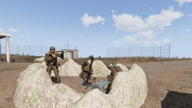 Hitman Base deployed with an 82 mm mortar